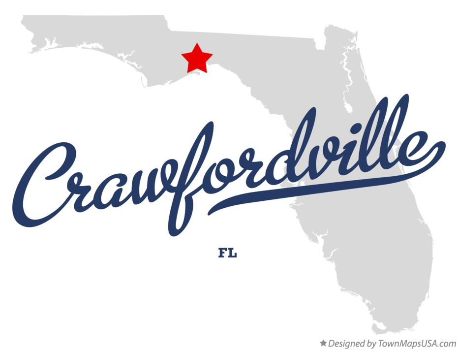 Map of Crawfordville Florida FL