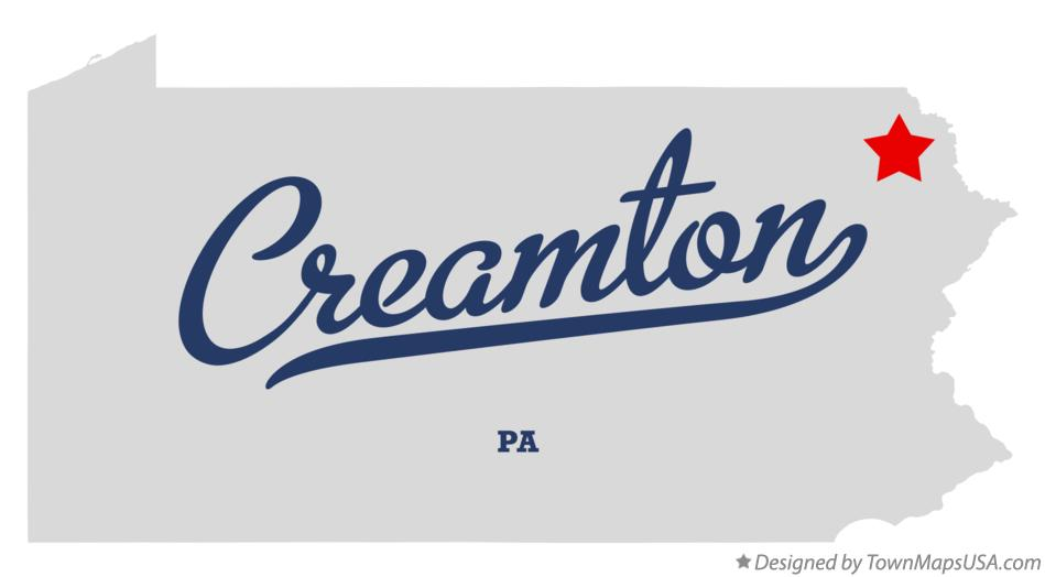 Map of Creamton Pennsylvania PA