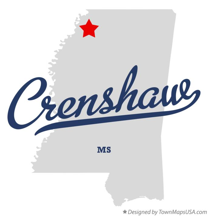Map of Crenshaw Mississippi MS