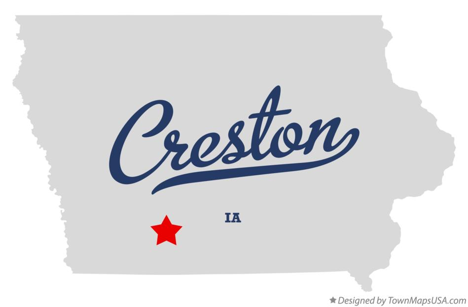 Map of Creston Iowa IA