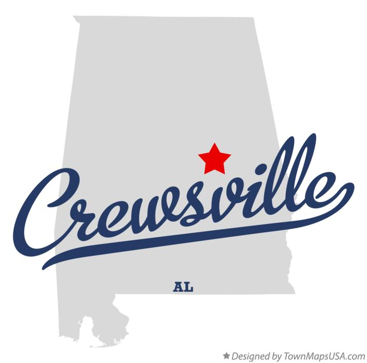 Map of Crewsville Alabama AL