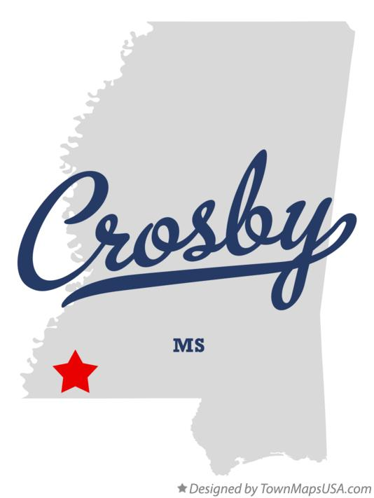 Map of Crosby Mississippi MS