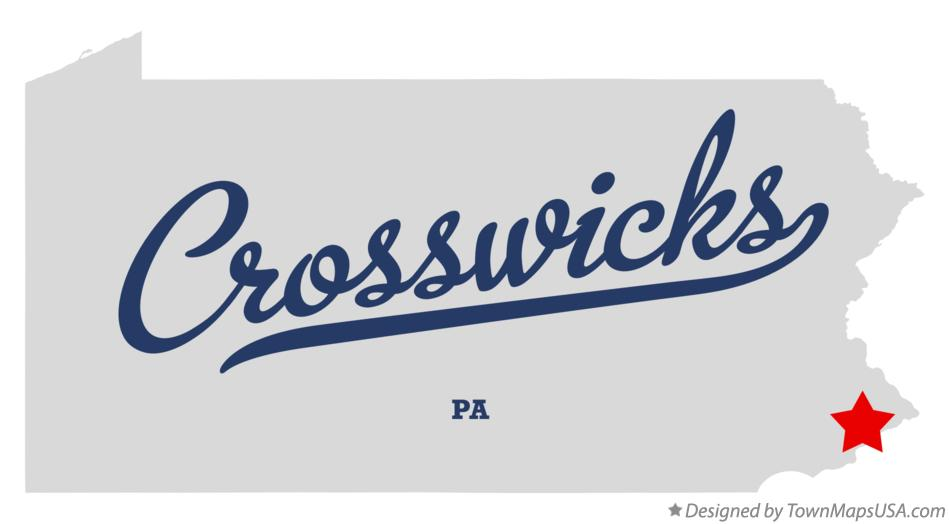 Map of Crosswicks Pennsylvania PA