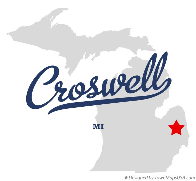 Map of Croswell Michigan MI