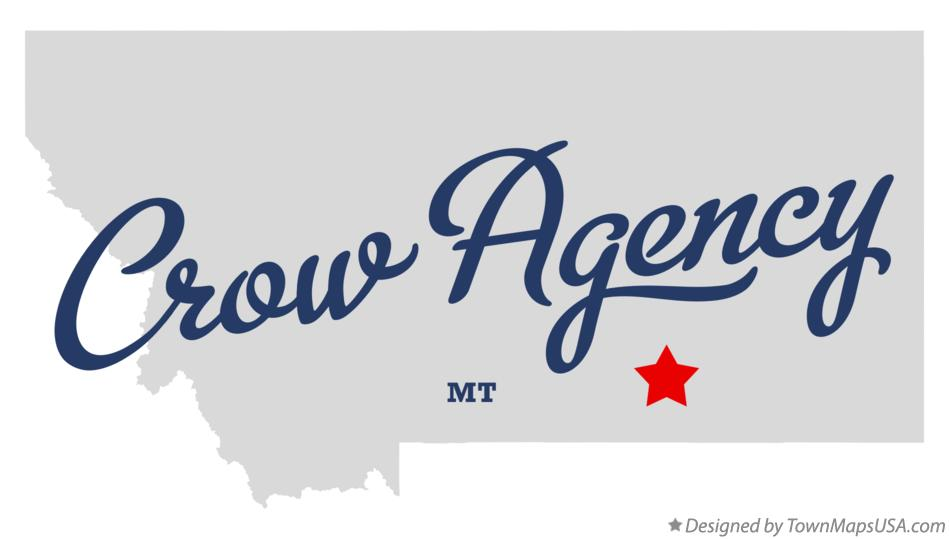 Map of Crow Agency Montana MT