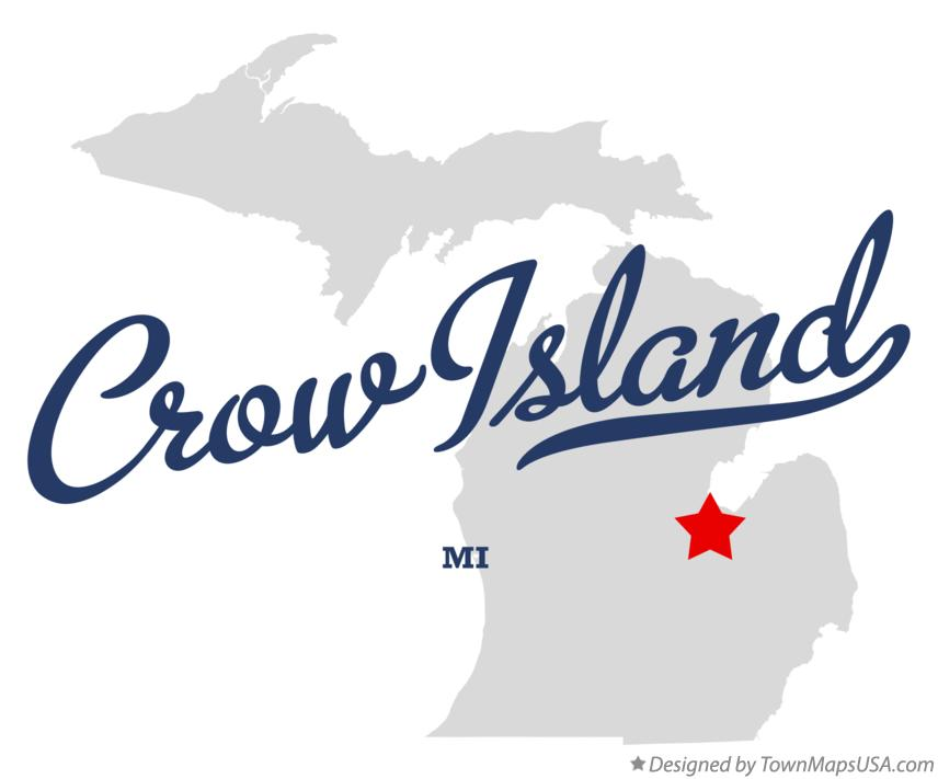 Map of Crow Island Michigan MI