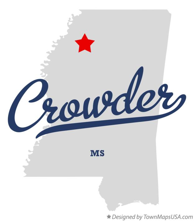Map of Crowder Mississippi MS
