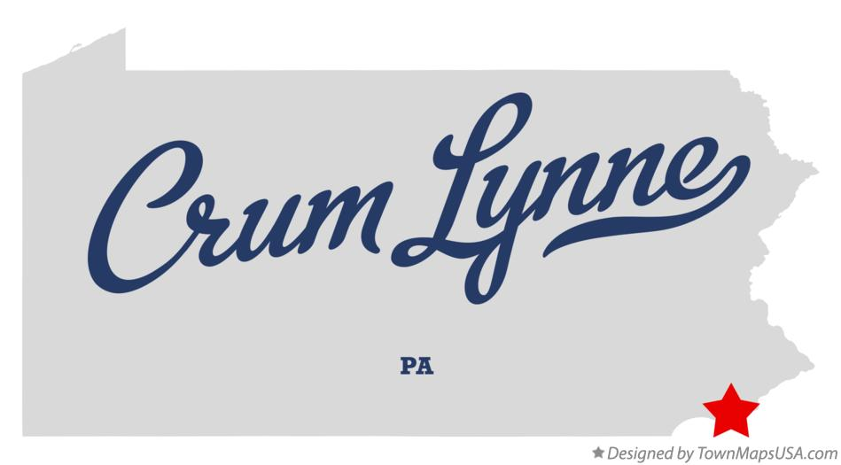 Map of Crum Lynne Pennsylvania PA
