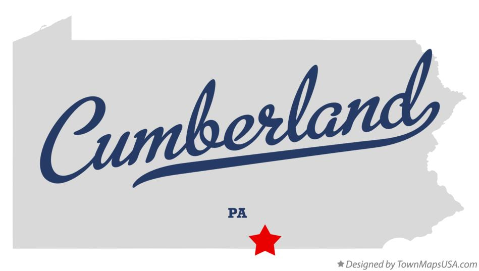 Map of Cumberland Pennsylvania PA