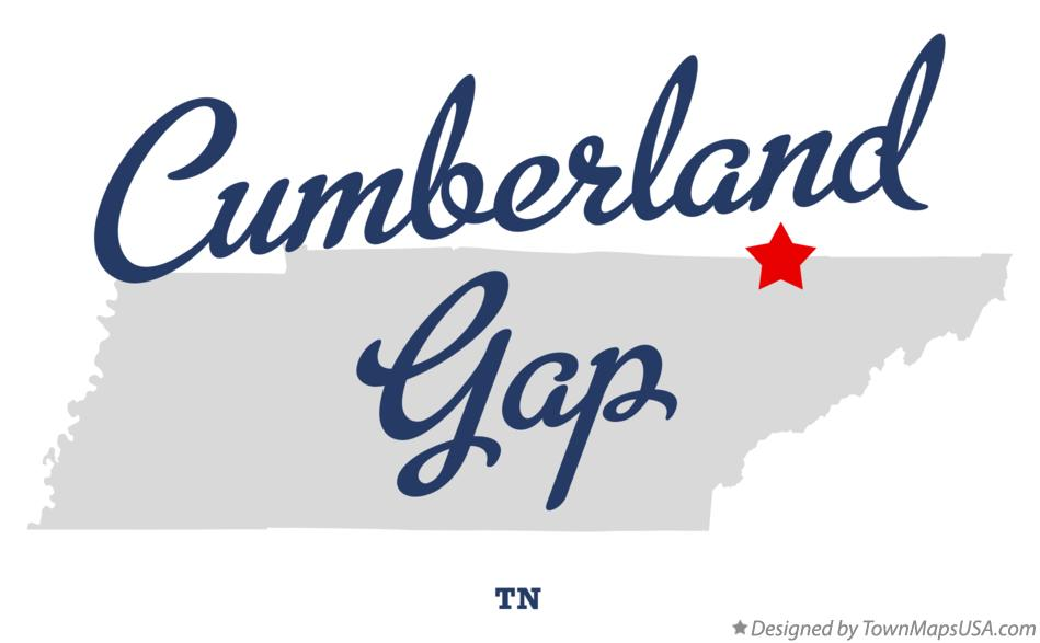 Map of Cumberland Gap Tennessee TN