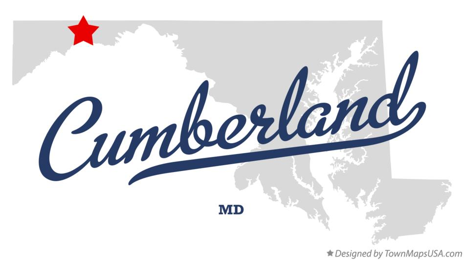 Map of Cumberland Maryland MD