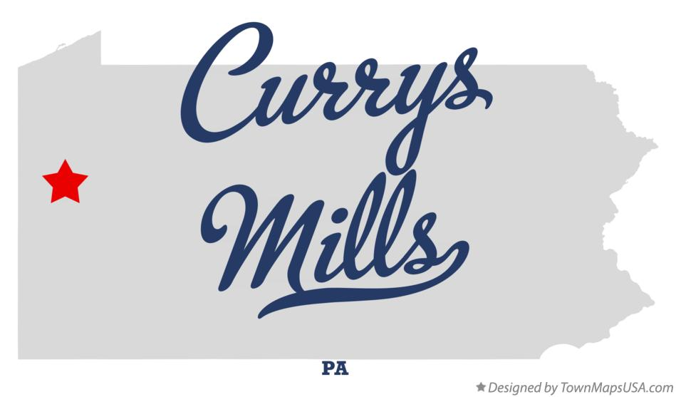 Map of Currys Mills Pennsylvania PA