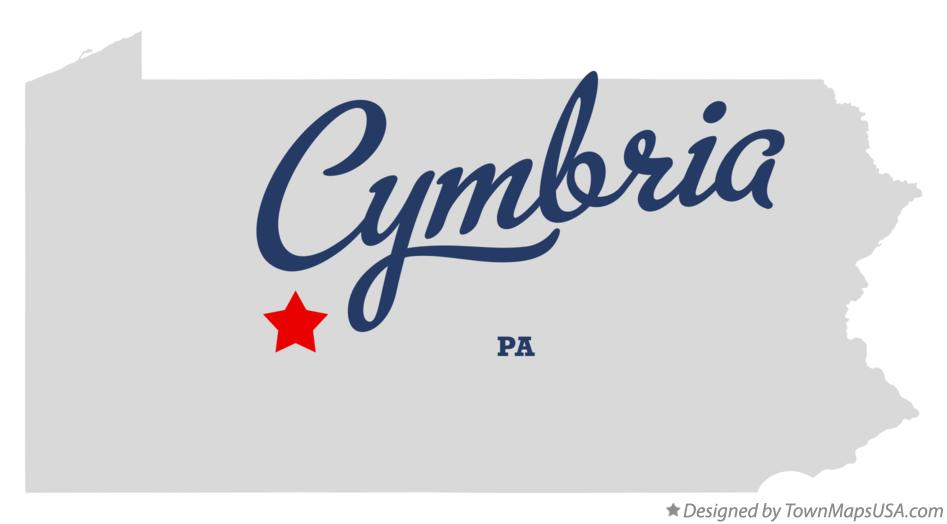Map of Cymbria Pennsylvania PA
