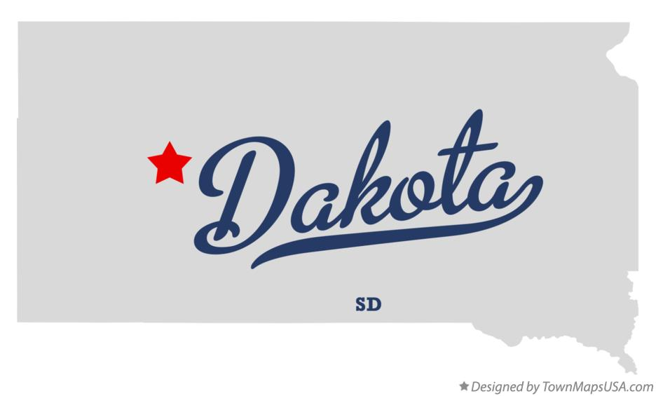Map of Dakota South Dakota SD