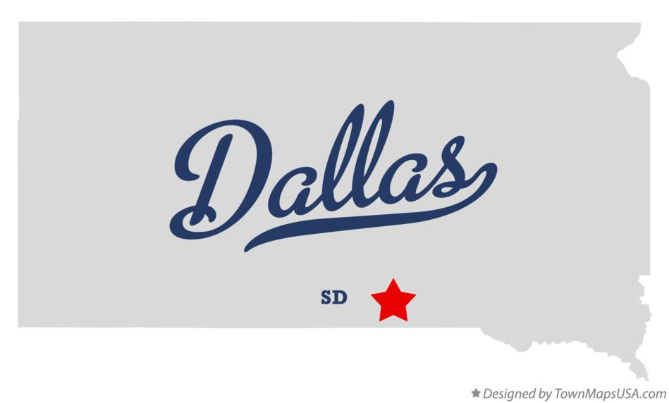 Map of Dallas South Dakota SD