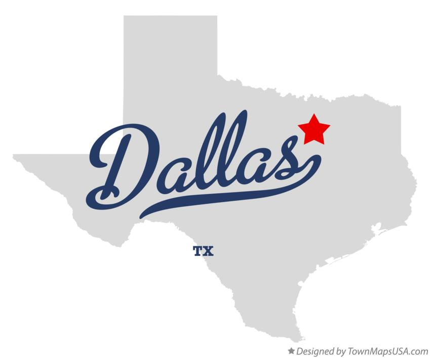 Map of Dallas, TX, Texas