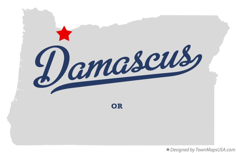 Map of Damascus Oregon OR