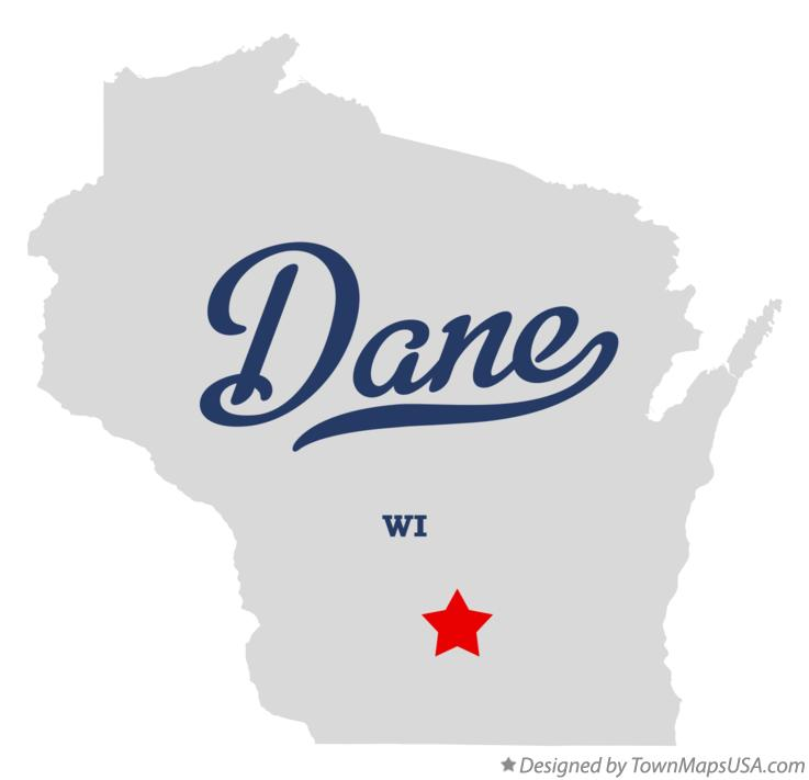 Map of Dane Wisconsin WI