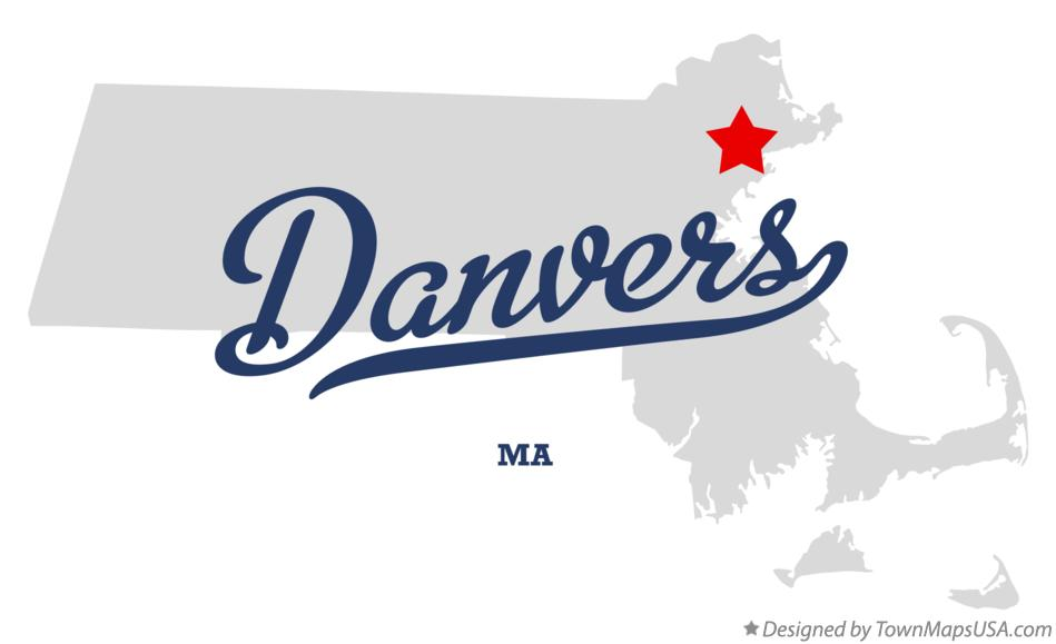 Map of Danvers Massachusetts MA