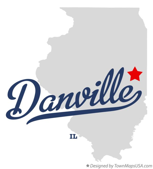 Map of Danville Illinois IL