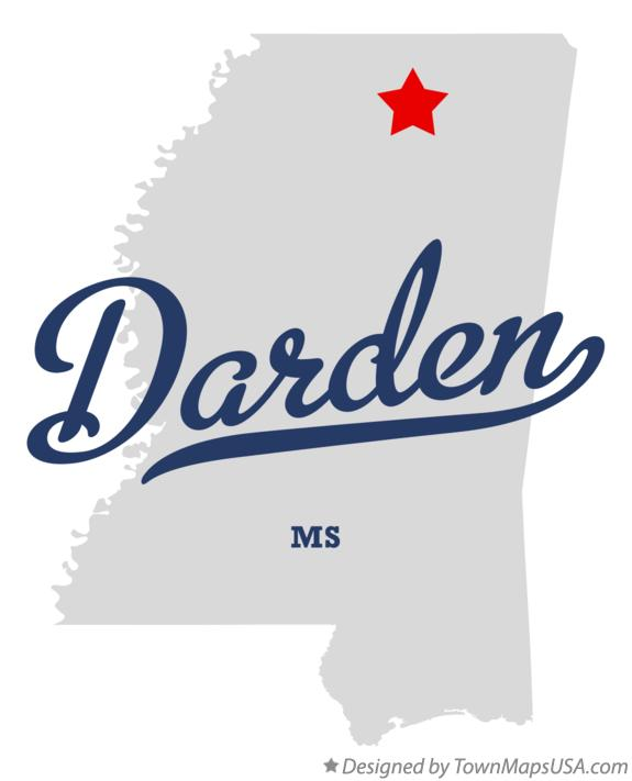 Map of Darden Mississippi MS