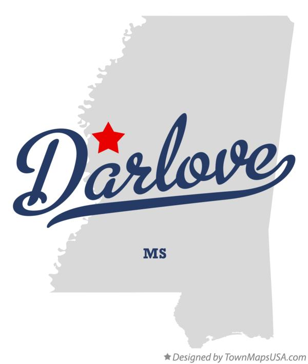 Map of Darlove Mississippi MS