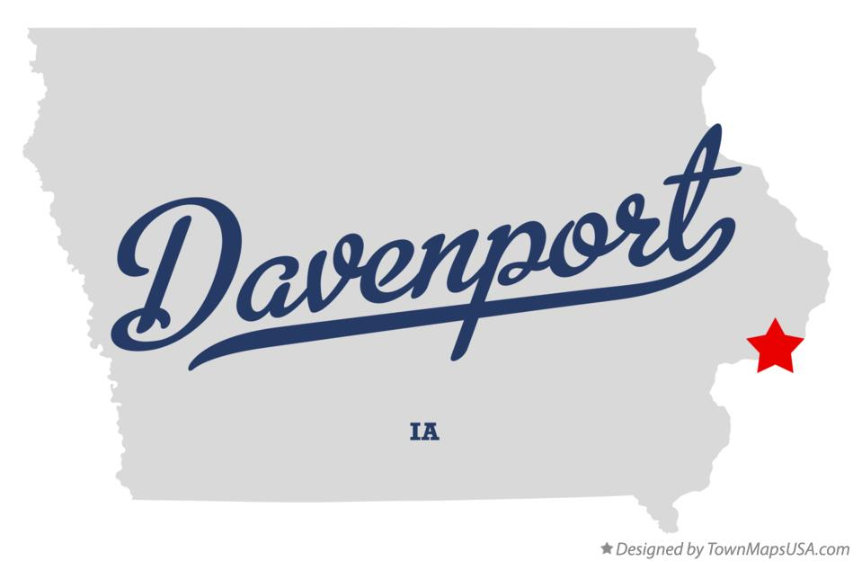 Map of Davenport, IA, Iowa
