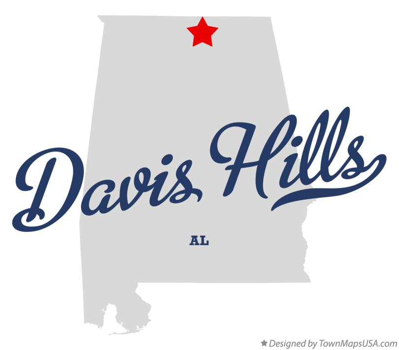 Map of Davis Hills Alabama AL