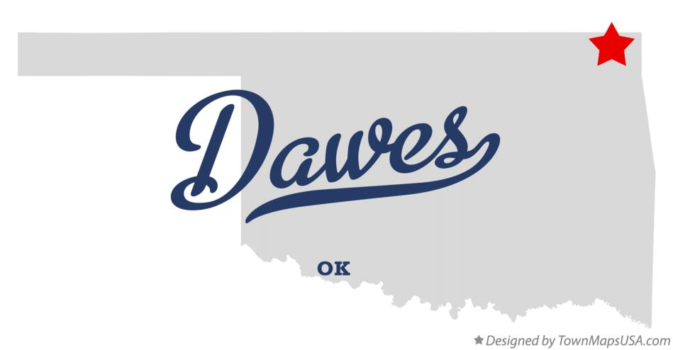 Map of Dawes Oklahoma OK