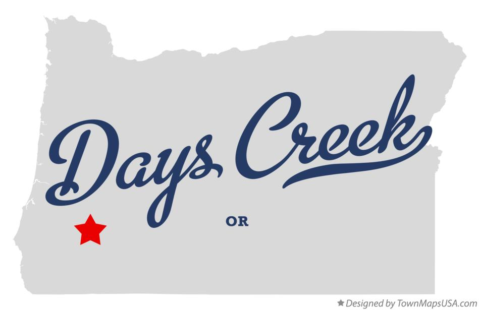 Map of Days Creek Oregon OR