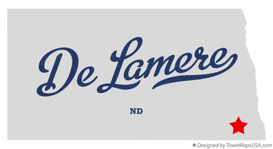 Map of De Lamere North Dakota ND