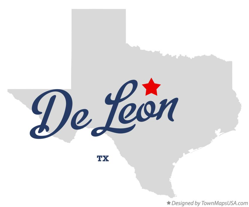 Map of De Leon Texas TX