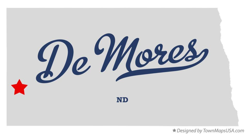 Map of De Mores North Dakota ND