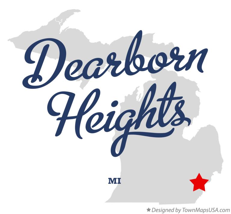 Map of Dearborn Heights Michigan MI