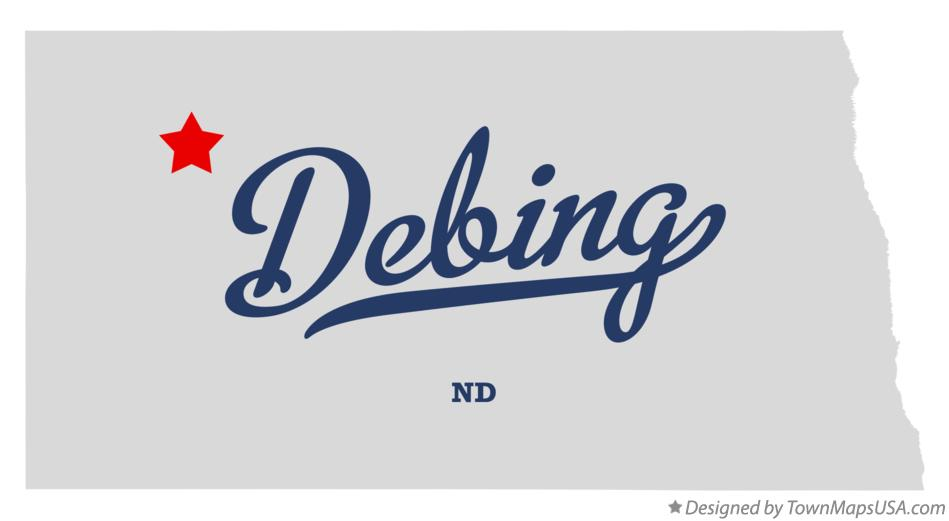 Map of Debing North Dakota ND