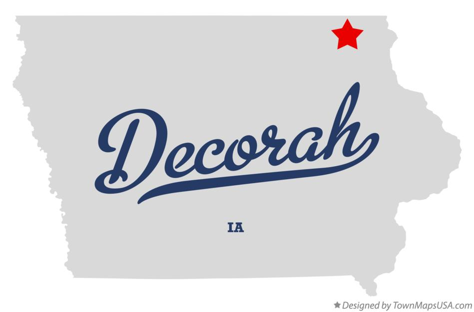 Map of Decorah Iowa IA