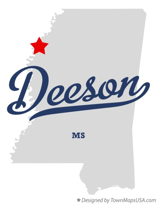 Map of Deeson Mississippi MS