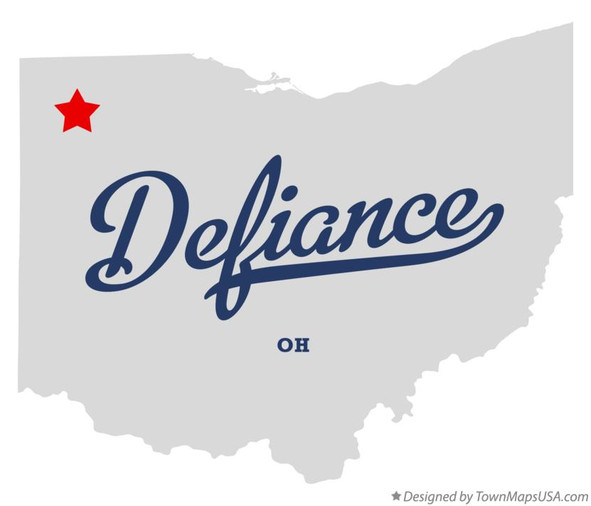 Map of Defiance Ohio OH