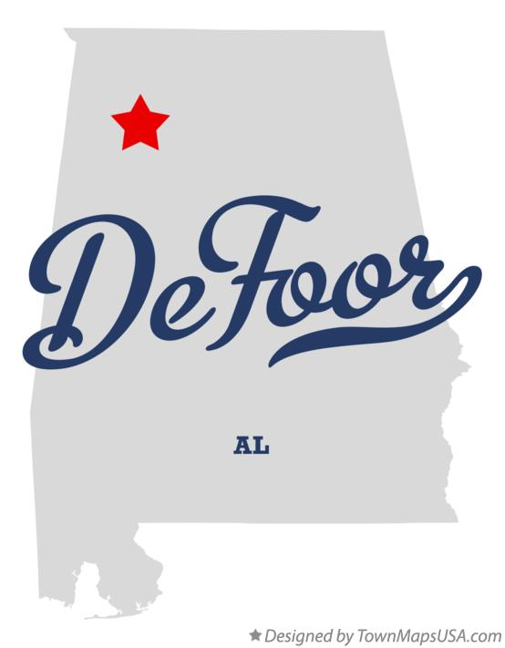 Map of DeFoor Alabama AL