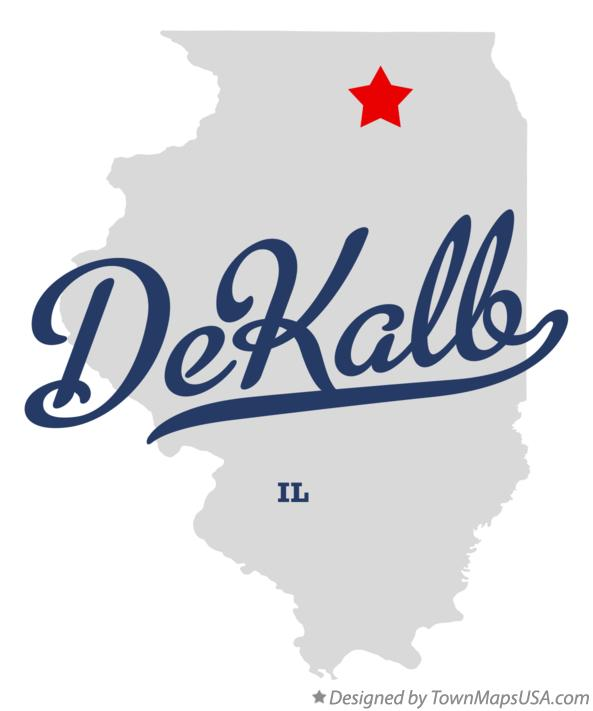 Map of DeKalb Illinois IL