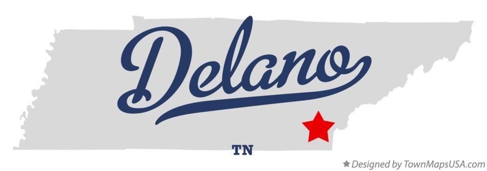 Map of Delano Tennessee TN