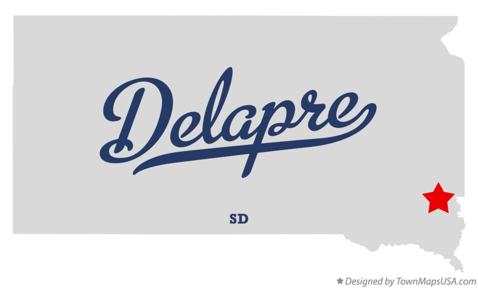 Map of Delapre South Dakota SD