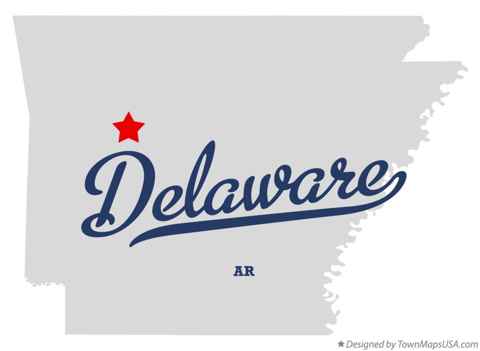 Map of Delaware Arkansas AR