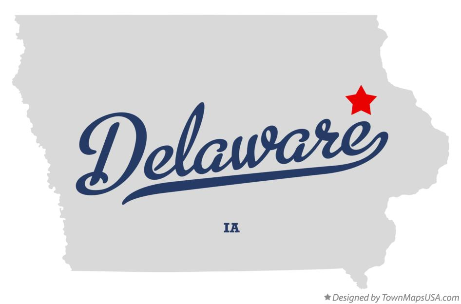 Map of Delaware Iowa IA