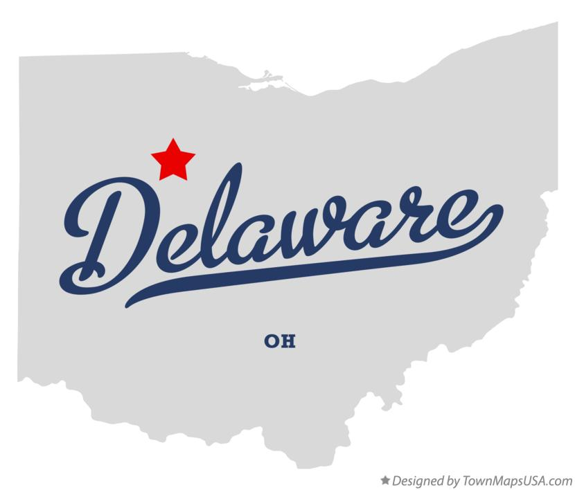 Map of Delaware Ohio OH