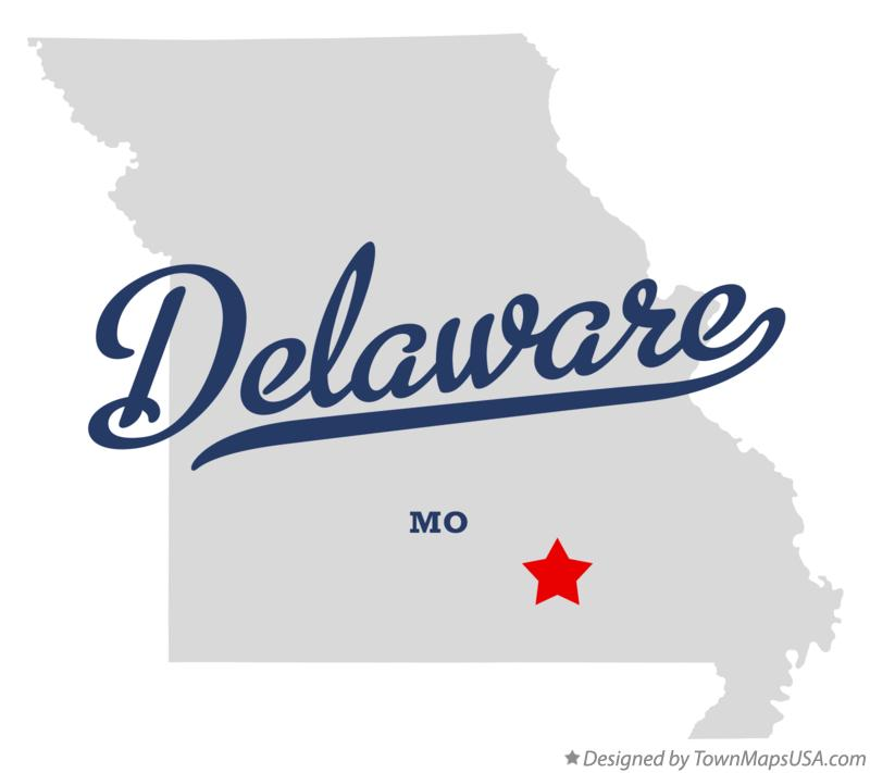Map of Delaware Missouri MO
