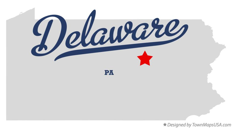 Map of Delaware Pennsylvania PA