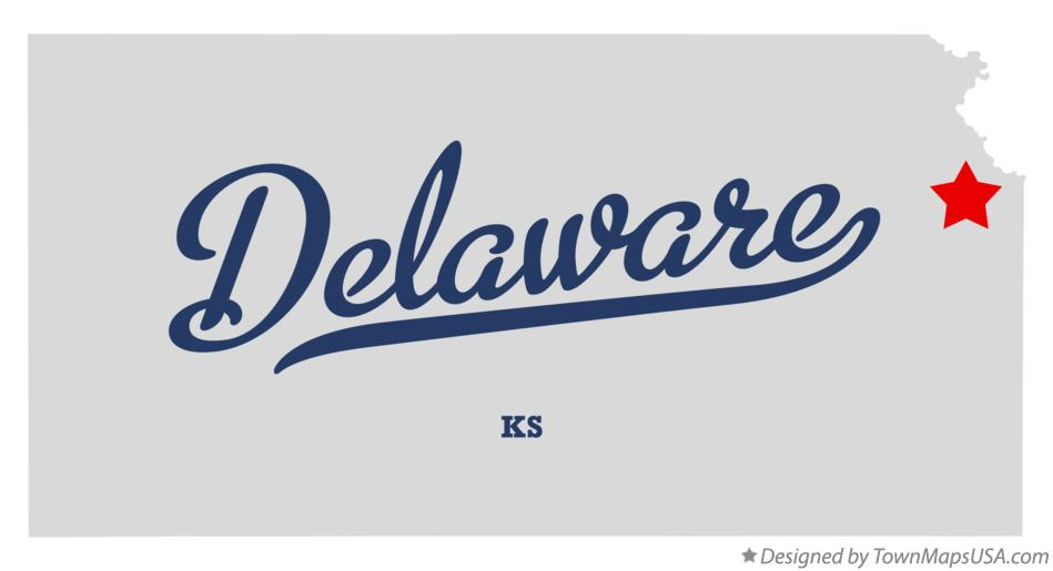 Map of Delaware Kansas KS