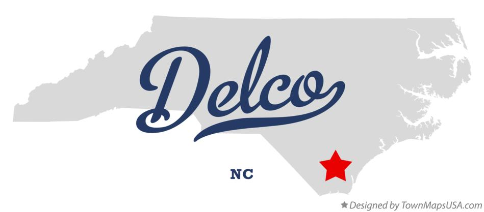 Map of Delco North Carolina NC