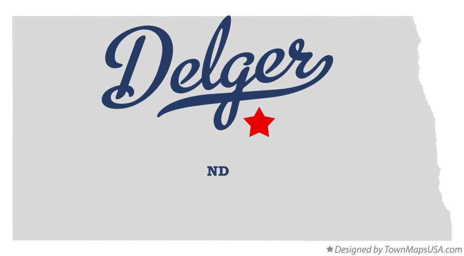 Map of Delger North Dakota ND